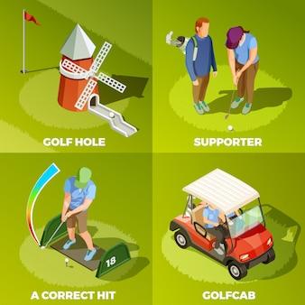 Golf 2x2 изометрическая концепция дизайна