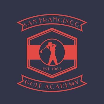 Golf academy vintage logo, badge, emblem with girl golfer, female golf player swinging club