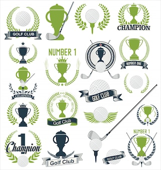 ゴルフとゴルフのスポーツデザイン要素コレクション