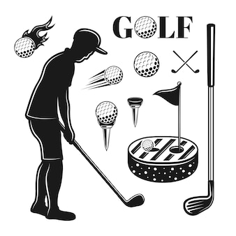ゴルフとゴルフのベクトルオブジェクトまたは白い背景で隔離のモノクロのビンテージスタイルのデザイン要素