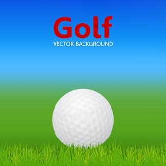 Golf background - 3d realistic golf ball on grass.