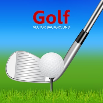 Golf background - golf club and ball on tee