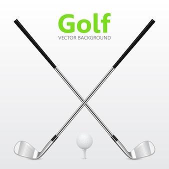 ゴルフの背景-2つの交差したゴルフクラブとティーのボール。