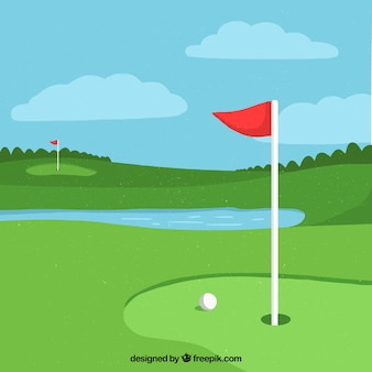 Golf background with pond