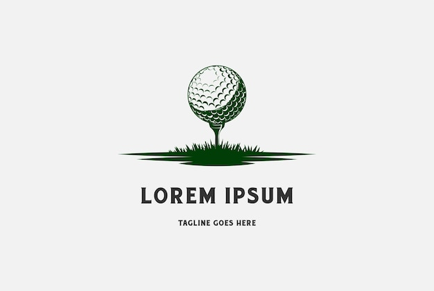스포츠 클럽 로고 디자인 벡터에 대 한 잔디와 골프 공 및 티