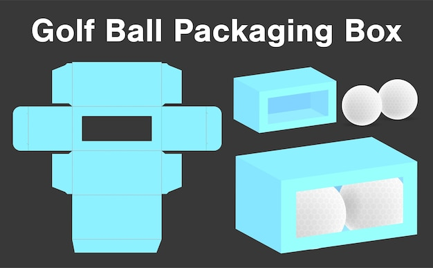 Golf ball box package template 3d mockup
