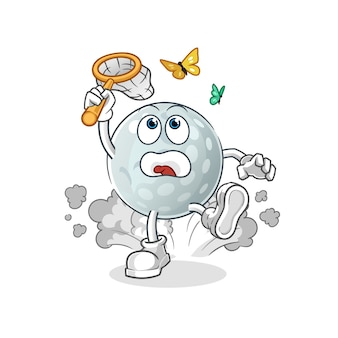 Golf ball catch butterfly illustration. character