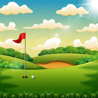 Golf ball and a flag on green hill