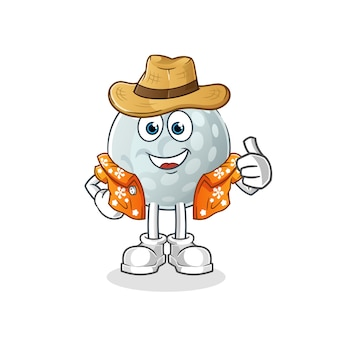 Golf ball go on vacation character. cartoon mascot