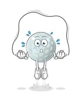 Golf ball jump rope exercise illustration. character