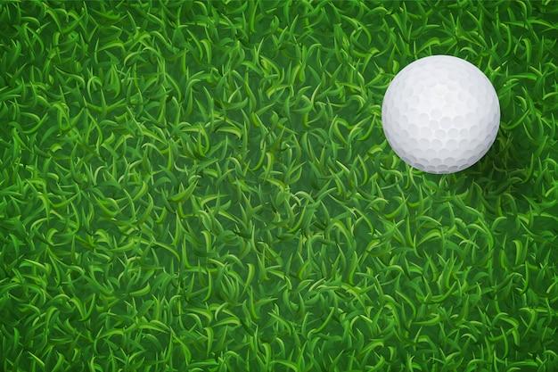 Мяч для гольфа на фоне текстуры зеленой травы.
