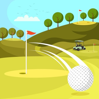 Golf ball passing by hole on course with flags.