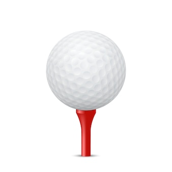 Golf ball on a red tee, isolated.