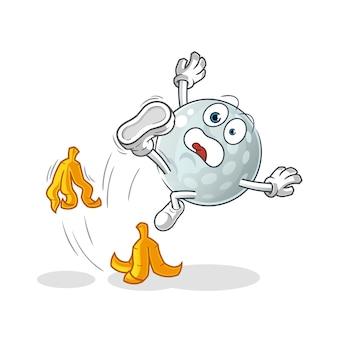 Golf ball slipped on banana character. cartoon mascot
