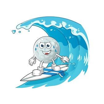 波のキャラクターでサーフィンするゴルフボール。漫画のマスコット