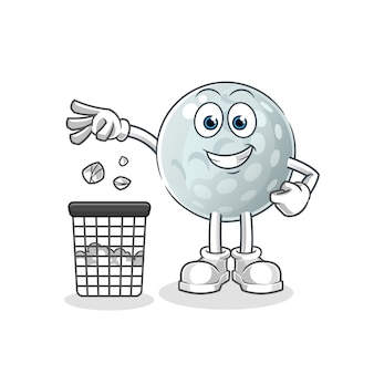 Golf ball throw garbage in trash can mascot. cartoon