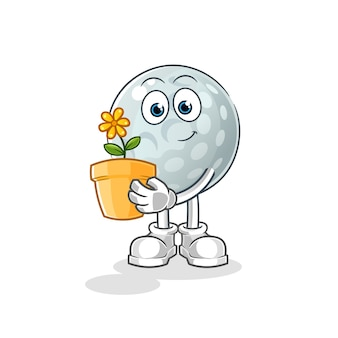 Golf ball with a flower pot illustration. character
