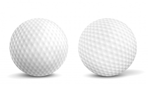 Golf balls isolated realistic vector illustrations