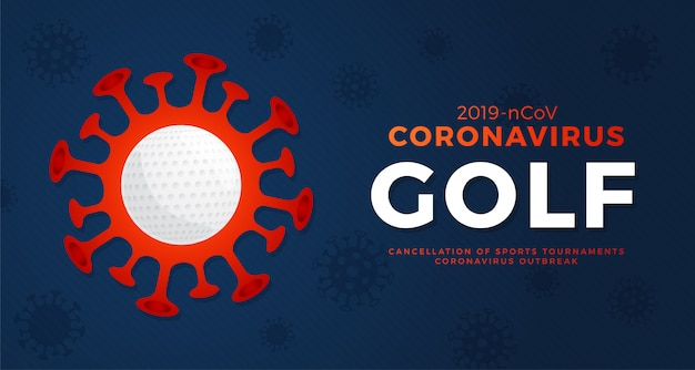 Golf  banner caution coronavirus. stop 2019-ncov outbreak. coronavirus danger and public health risk disease and flu outbreak. cancellation of sporting events and matches concept