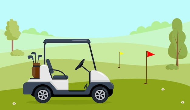 Golf cart on green field