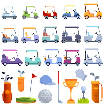 Golf cart icons set, cartoon style