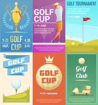 Golf club advertisement retro style posters collection with gold cup tournament winner trophy