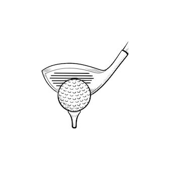 ゴルフクラブとティーの手描きのアウトライン落書きアイコンにボール。ゴルフ用品、ゴルフ競技コンセプトのセット