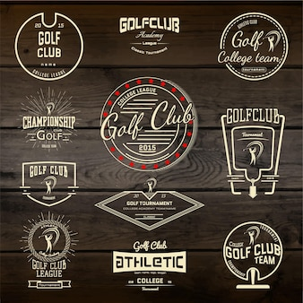 Golf club badges logos and labels. on wooden texture