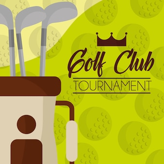 Golf club on bag balls background