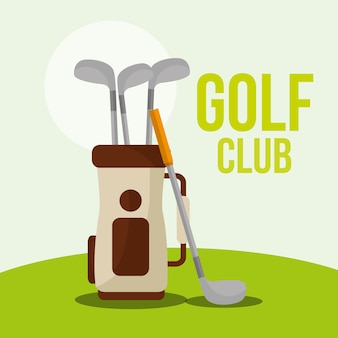 Golf club bag equipment on grass