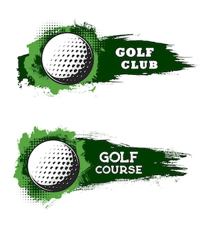 Golf club ball on course, sport tournament banners