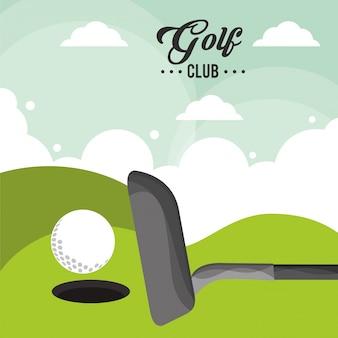 골프 클럽 공 필드 구멍 하나 포스터