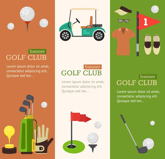 Golf club banner vertical set