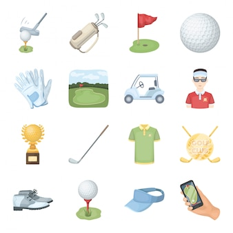 Golf club  cartoon set icon. isolated cartoon set sport equipment.   golf club  .