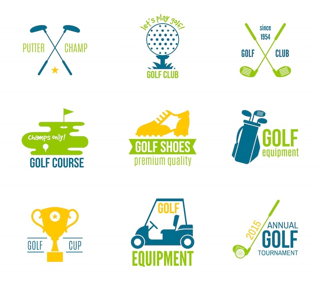 Golf club championship and equipment label colored set isolated vector illustration