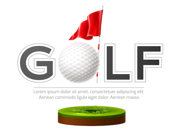 Golf club emblem with realistic flag and golf ball on green grass
