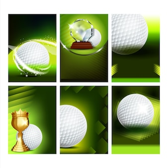 Golf club field playground game posters set vector. playing ball and golf stick, tee and bag sport equipment collection different creative advertising banners. brochures concept template illustrations