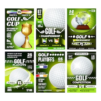 Golf club field playground game posters set