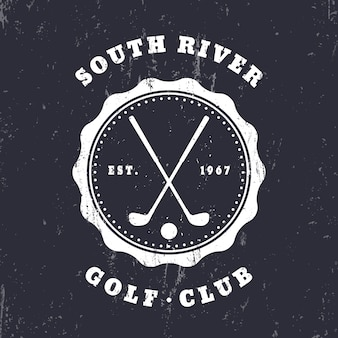 Golf club, grunge vintage emblem, logo, badge,   illustration