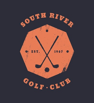 골프 클럽 그런 지 빈티지 팔각형 상징