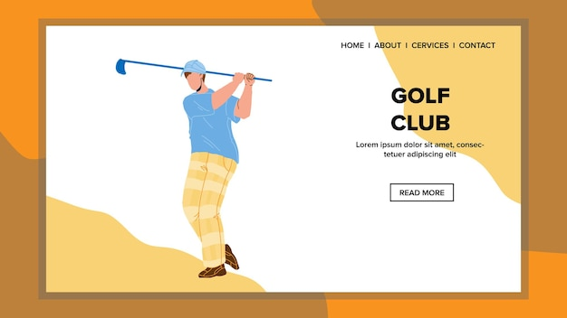 Golf club hold and swing golfer sportsman vector. man playing game, aiming and hitting ball with golf club. character boy player golfing or training on meadow web cartoon illustration
