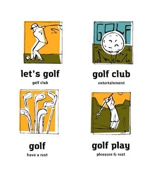 Golf club logo icons set.