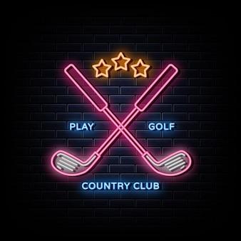 골프 클럽 로고 네온 간판