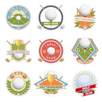 ゴルフクラブのロゴセット。ゴルフのラベルとバッジ。ロゴタイプの競争またはゲーム、トーナメントシンボル、