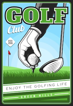 Golf club poster, golfing sport vector retro card with hand in glove put ball on field and stick. sport game tournament vintage design for golf championship on professional course. sports competition
