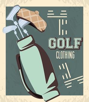 Golf club retro banner with caddy bag