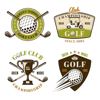 Golf club set of vector colored emblems, badges, labels or logos in vintage style isolated on white background