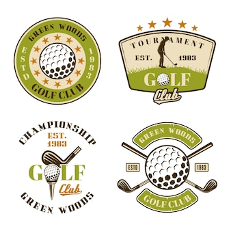 Golf club set of vector emblems, badges, labels or logos. vintage colored illustration isolated on white background