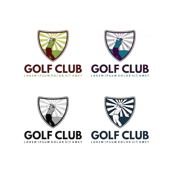 Golf club shield in vintage retro style