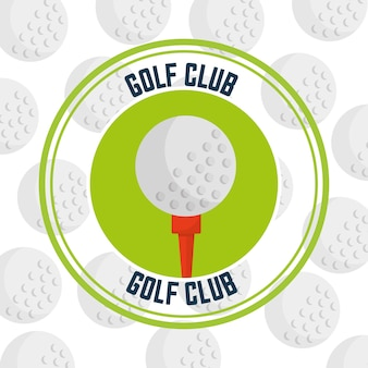 Golf club on a tee emblem balls background